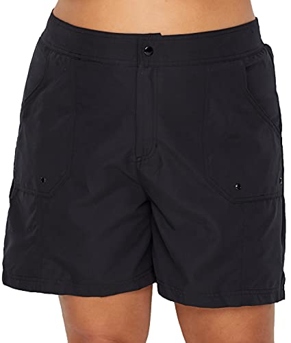 Maxine Of Hollywood Women's Plus Size 7'' Woven Swim Short, Black//Solid, 22W