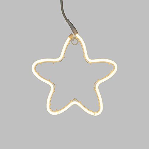 Figura Luminosa, Stella Effetto Neon Ø 30 cm, 120 LED Bianco Caldo, Luce Fissa, Cavo Bianco, Esterno