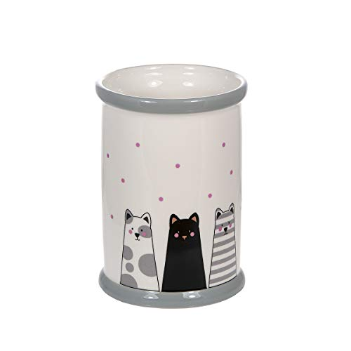 Tarro para Utensilios de Cocina de cerámica, Soporte para Utensilios de Cocina 16 x 11 cm, con Diseño de Gatos, Regalo Gato para Amantes de los Gatos