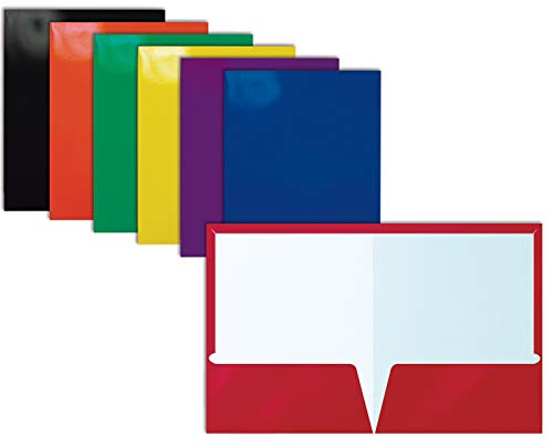 2 Pocket Glossy Laminated Paper Folders, Assorted Colors, Letter Size, Paper Portfolios by Better Office Products, Box of 25 Assorted Color Folders (no prongs)
