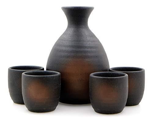Iga Oribe Sake-Set, 4 Tassen, japanisch