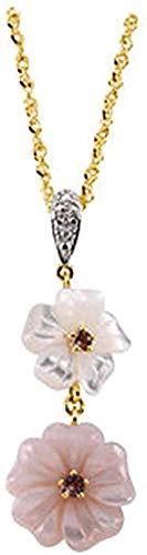 LKLFC Collar Colgante Cadena Collar Mujer Hombre Collar Collar de Oro Amarillo de 14k con turmalina Rosa nácar y Flor de Diamante 18 Regalo