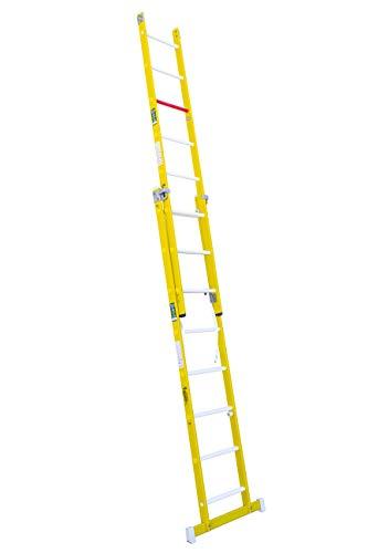 Escalera transformable de fibra de vidrio. Permite su uso en tijera y extensible. Según norma UNE-En 131 y 50528. (2 tramos x 8 peldaños)