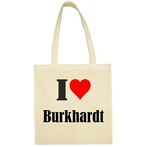 Tasche I Love Burkhardt Größe 38x42 Farbe Natur Druck Schwarz