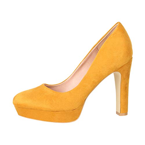 Elara Damen Pumps High Heels Vintage Abendschuh Chunkyrayan E22360-Yellow-37