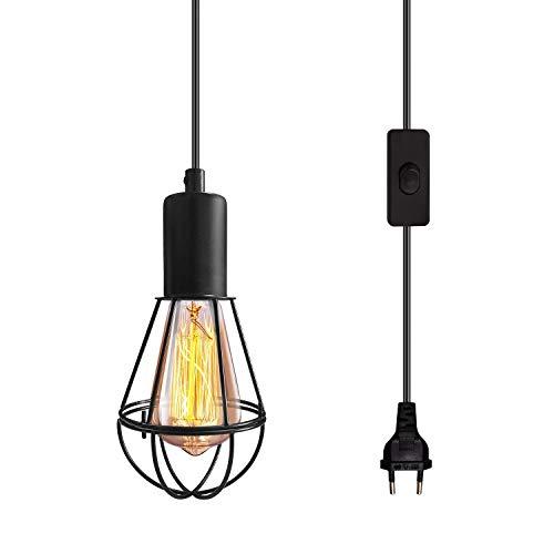 Lámpara de techo industrial vintage negra, lámpara de jaula, lámpara colgante industrial Enhechable iluminación de suspensión de jaula de suspensión vintage enchufe eléctrico e interruptor para bar