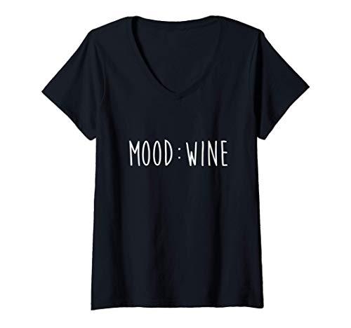 Mujer Regalo Mood Wine para amantes del vino Camiseta Cuello V