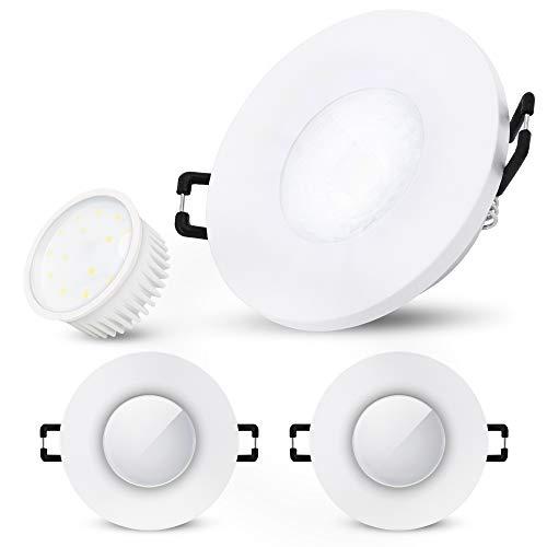 SSC-LUXon BEDA Einbauleuchte dimmbar 3er Set flach IP65 inkl. LED Modul tauschbar 5W neutralweiß - 3x Einbaulampe Bad weiß 230V