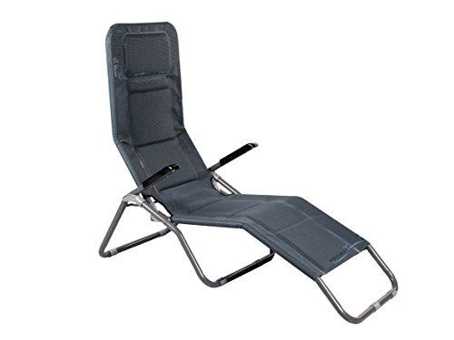 Bäderliege extra hoch Sitzhöhe ca. 43 cm Sonnenliege Gartenliege Liege Aluminium Saunaliege anthrazit