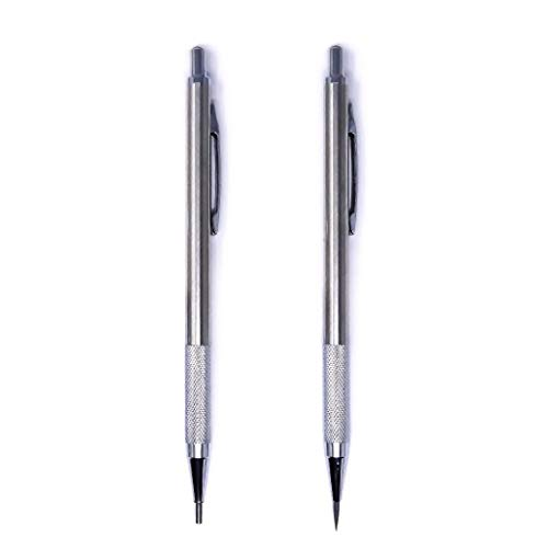 METAL Artists Pencil | 2 Pack Drawing Mechanical Pencils | 2mm Mechanical Pencil with Brushed Metal Barrel