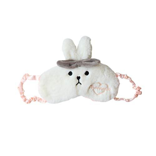 Lurrose oogmasker boog konijnenmasker pluche cartoon slaapmasker schattig oogbinden Kerstmis oogscherm afdekking oogbescherming voor reizen nickertje slapen (wit) Medium wit
