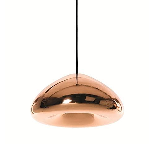 NAMFHZW Linterna moderna Lámpara colgante de techo pequeña Lámpara colgante con pantalla de vidrio de bronce Lámpara colgante LED semi-empotrada Lámpara colgante Kit de altura ajustable Luminaria Baño