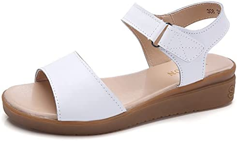 ZAIXO Summer Genuine Leather Wedges Women's Sports Sandals for Women Shallow with Solid Shoes Woman Hook&Loop Sneakers Slides Women Sandals (Color : White, Shoe Size : 9)
