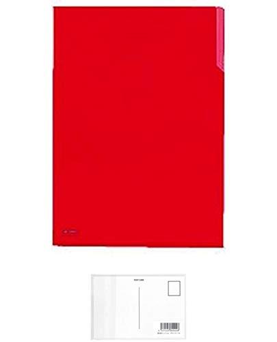 コクヨ フ−T750N-1 クリヤーホルダー10 PP A4 赤 5枚セット + 画材屋ドットコム ポストカードA