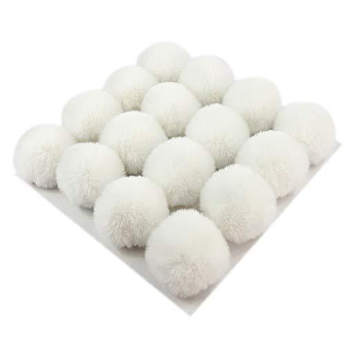 VIccoo Bommelbal, 1 stuk 13 kleuren 10 cm DIY Fluffy Sweet Candy effen met elastische strik voor gebreide muts schoenen sjaals tas handtas charme ornament - wit