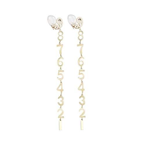 HJHJ Pendientes de moda con letras de 1 a 9 largos para mujeres y niñas, joyas de boda o regalo de cumpleaños decoración (un par) pendientes de decoración (color : clip de oreja)