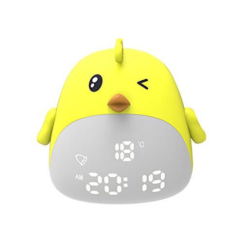 TTAototech Reloj Despertador para niños Reloj de Pollito con luz para Despertar Reloj Despertador para niños Lámpara de cabecera Creativa Función de repetición, Regalo del día de los niños (Amarillo)