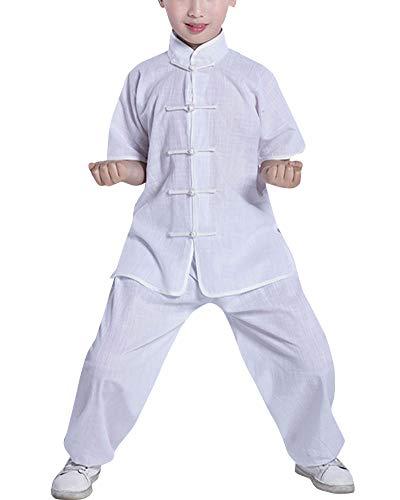 Mengmiao Kinder Unisex Kurze Ärmel Oberteile und Hosen Kampfsport Anzug Kung Fu 2-Teiliges Set Weiß 160