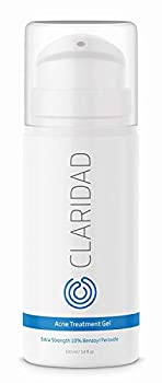 Benzoyl Peroxide 10% Acne Treatment Gel - Pimple Cream & Acne Spot Treatment - Fight Cystic Acne Back Acne & Body Acne - by Claridad - Paraben & Cruelty Free