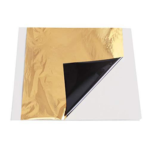 "VGSEBA Imitation Gold Foil Sheets-100 Pieces Black-Gold Color Metal Leaf Papers for Gilding Crafts, Furniture Decorations, Arts Project, 5.1"" x 5.3"" Loose Package"