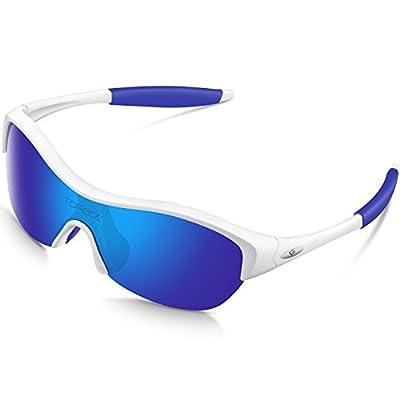 TOREGE Tr90 Flexible Kids Sports Sunglasses Polarized Glasses Boys Girls Age 3-7 Trk001 (White&Blue)