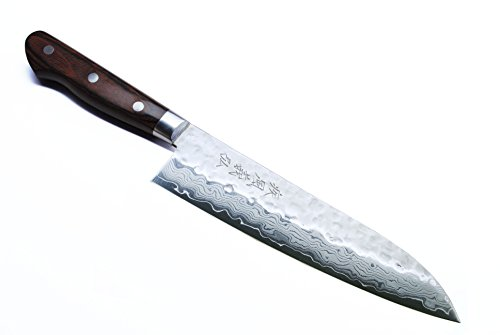 Yoshihiro VG-10 Damascus Santoku Multipurpose Japanese Chef Knife 7' (Western Style Mahogany Handle)