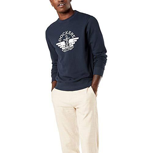 Dockers Men's Long Sleeve Crewneck Sweater, Pembroke Navy Gray Logo (Legacy), Medium