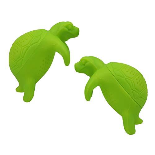 BESTonZON 2 STÜCKE Nette Silikon Schildkröte Tee-Ei Tier Loose Leaf Teesieb Filter Diffusor Küche Werkzeuge Gadgets (Grün)