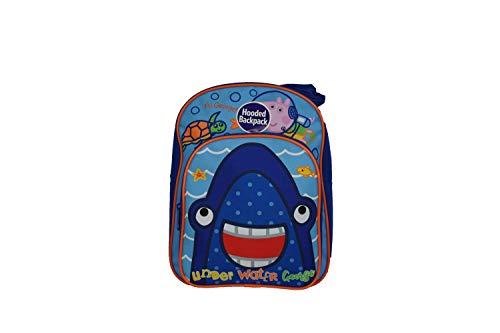 Unter Wasser George Schwein Shark mit Kapuze Rucksack Offiziell Lizenziert Abnehmbarer Kinder Qualität Produkt Nähte Gepolstert Schulterriemen Tension Wasserfest 100% Polyester - Uni, Einheitsgröße