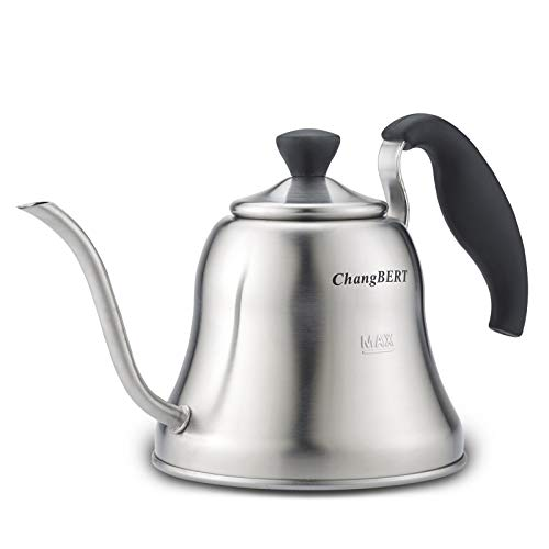 ChangBERT Pour Over Tea/Coffee Kettle Gooseneck Stainless Steel Teapot, Works on Gas, Electric, Induction Stovetop - 1L (34oz)