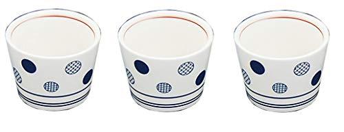 Yamako Lot de 3 tasses à saké en porcelaine à motifs japonais, φ5,6 x H 4,2 cm, du Japon 26963 (blanc et bleu traditionnel japonais Mon Pattern 26961)