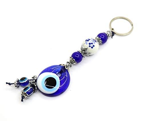 Porte-clés Nazar Boncuk Anahtarlık avec perles de verre fait à la main - Porte-bonheur - Talisman œil bleu turc contre le mauvais œil (Modèle 5)