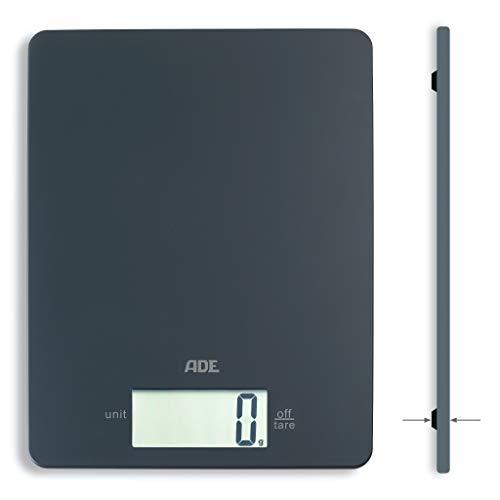 ADE Digitale Küchenwaage KE 1800-3 Leonie (Elektronische Waage für Küche und Haushalt, extrem flach, präzises Wiegen bis 5 kg, Zuwiegefunktion) grau