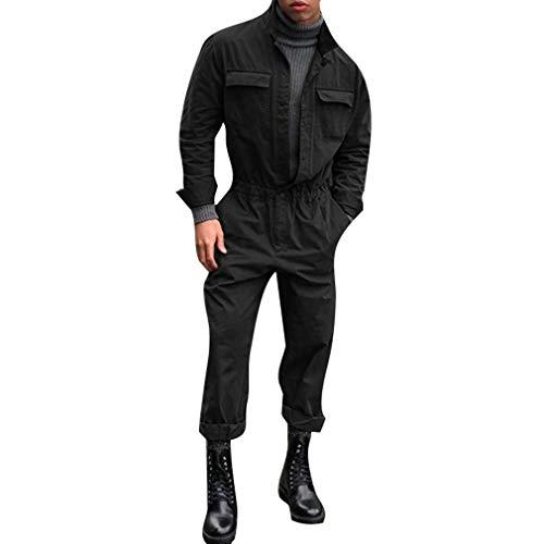 Hellomiko Homme Salopettes Cargo Mode Combi Slim Fit Stand-Up Collier Élastique Ceinture