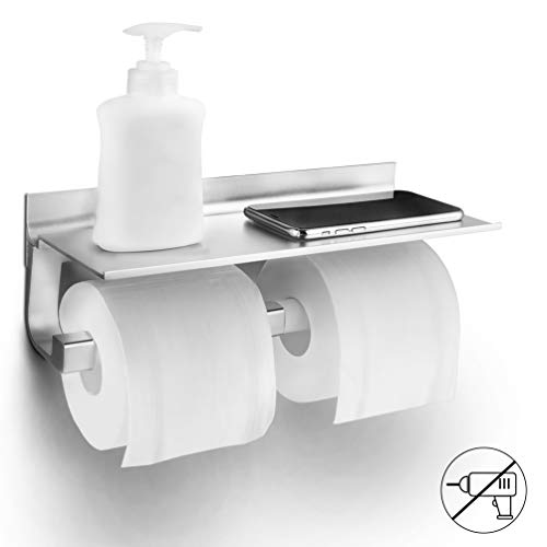 Toilettenpapierhalter Ohne Bohren, Klopapierhalter Selbstklebend WC Papierhalter, Raum Aluminium Klorollenhalter für Badezimmer Toilette Küche, 2 Installationsmethoden, Abnehmbare Rollen