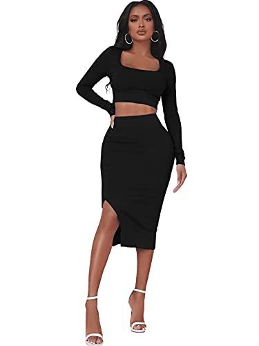 DIDK Damen Crop T-Shirt und Rock Set 2 Piece U-Ausschnitt Bauchfrei Tops Knielang Röcke mit Schlitz Kombi Zweiteilerset Schwarz L