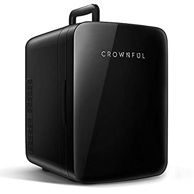 Crownful Mini Fridge, 10 Liter/12 Can Portable Cooler and Warmer Personal Fridge for Skin Care, Food, Medications, Great for Bedroom, Office, Dorm, Car, ETL Listed (Black)
