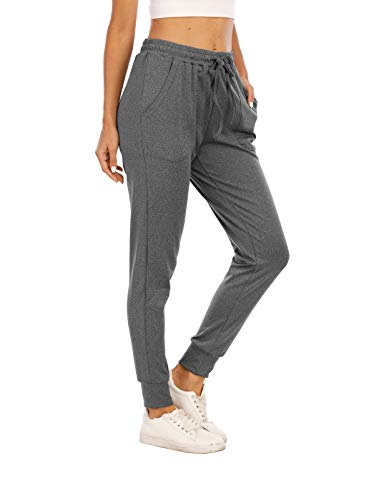 Misyula Style Womens Joggers with Pockets, Sweatpants for Girls Drawstring Running Yoga Gym Exercise Training Casual Clothes Track Pants Holiday Park Pajamas Lounge Pants Stretchy Dark Grey S