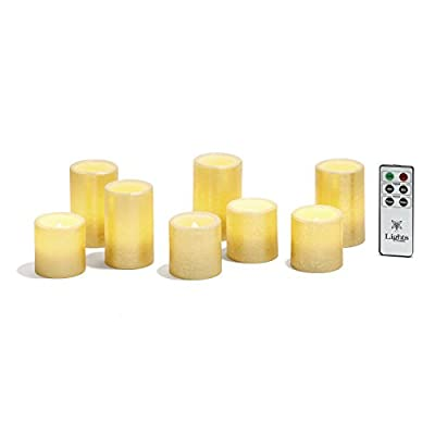 Set of 3 Distressed Flameless Wax Pillar Candle - Batteries Included