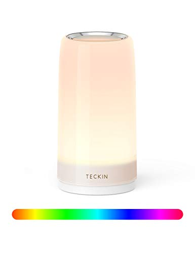 Table lamp LED Touch Bedside Lamp Nightstand lamp Night Lights,TECKIN Desk Lamps Dimmable 2800K-3100K Warm White Light \u0026amp; Color Changing RGB for Bedrooms,Living Rooms and Office