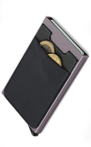 NeroAvorio Tarjetero para Tarjetas de Crédito, Bloqueo RFID, Monedero Fino Aluminio y Cuero, Gris, Minimalista, Sistema Pop-UP para 6 Tarjetas con Bolsillos Exteriores para Billetes o Monedas