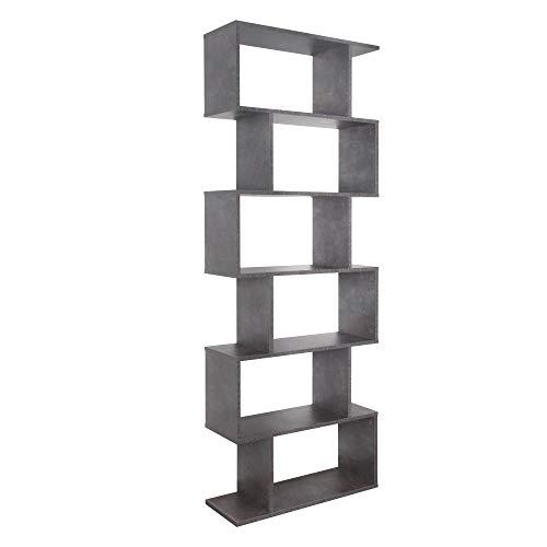RICOO WM070-BG Estantería 192x70x25cm Estante Librería Moderna Biblioteca Muebles de hogar Mueble almacenaje 6 Niveles Madera Gris
