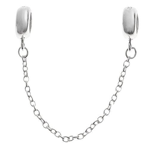 Cadena de seguridad de plata de ley 925 con cierre de goma para pulseras de abalorios europeas.