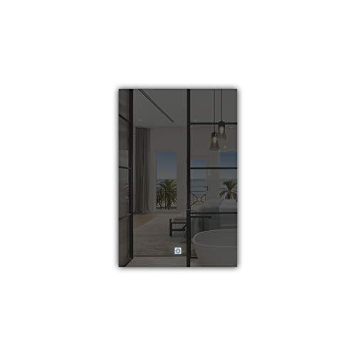Aluglass - Espejo Touch Led Modelo Eclipse de 40x60 cm con iluminación perimetral Blanca