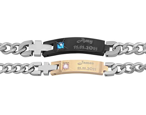 Hanessa Gravierte Edelstahl Partner Armbänder Armband mit Wunsch Gravur in Silber Gold/Schwarz aus Edel-stahl für Mann und Frau Paare Geschenk zum Vatertag für den Papa Vater