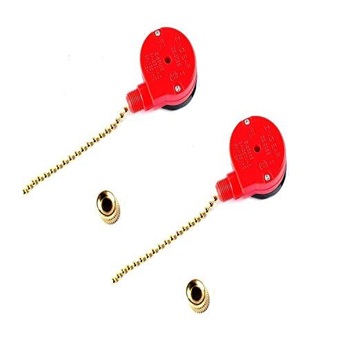 ZE-208S Interruptor 3 Velocidades y 4 Cablesde de Cadena Poweka para Ventilador de Techo Compatible con Zing Ear E89885 (2 Piezas)