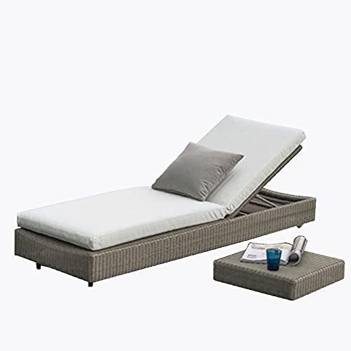 Lettini da terrazza Piancata con terrazza, reclinabile per Il Tempo Libero di Lusso in Rattan, reclinabile per Patio per Schienale Regolabile, con Cuscino ad Alta Elasticità, mobili da terrazza