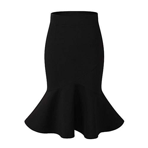 Cerobit Falda elástica de Cintura Alta con Falda de Cola de pez con Borde de Volantes