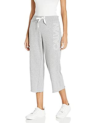 Calvin Klein Women's Premium Performance Cropped Comfort Stretch Pant, Pearl Grey Heather, Small