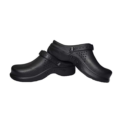 Natural Uniforms Ultralite Women's Clogs with Strap, Medical Work Mule (Size 8, Black)